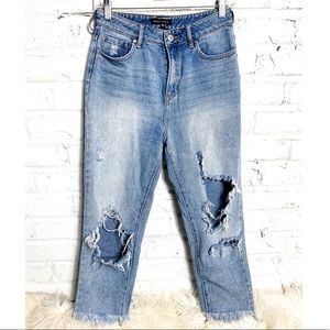 Kendall & Kylie distressed high waisted jeans